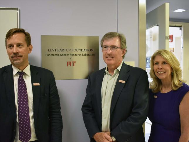 In 2018 the Jacks Lab became a Lustgarten Foundation Pancreatic Cancer Research Laboratory at MIT. Pictured are Lustgarten Foundation Chief Scientist Dr. David Tuveson, Dr. Tyler Jacks and Lustgarten Foundation President/CEO Kerri Kaplan.